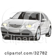 Clipart Illustration Of A Front View Of A White Volkswagen Jetta Car With Window Tint by David Rey