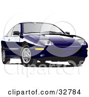 Clipart Illustration Of A Blue Pontiac Sunfire Car With Tinted Windows