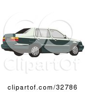 Clipart Illustration Of A Dark Green Volkswagen Jetta Car With Tinted Windows by David Rey