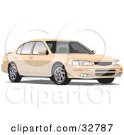 Clipart Illustration Of A Tan Nissan Maxima Car