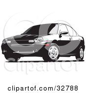 Clipart Illustration Of A Black Dodge Neon Car With Tinted Windows