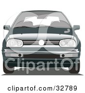 Clipart Illustration Of A Front View Of A Volkswagen Golf Car by David Rey