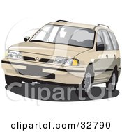 Clipart Illustration Of A Beige Station Wagon Car by David Rey