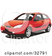Clipart Illustration Of A Red Two Door Ford Focus Hatchback Car