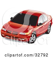 Clipart Illustration Of A Red Dodge Stratus Car With Dark Tinted Windows