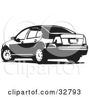 Clipart Illustration Of A Volkswagen Jetta Car In Black And White