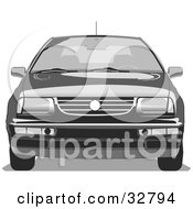 Clipart Illustration Of A Black Volkswagen Jetta Car With Privacy Glass by David Rey