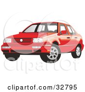 Clipart Illustration Of A Red Volkswagen Jetta Car by David Rey