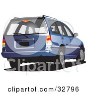 Clipart Illustration Of A Rear View Of A Blue Station Wagon Car by David Rey