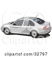 Clipart Illustration Of A Side View Of A White Volkswagen Jetta Car With Window Tint by David Rey