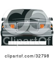 Clipart Illustration Of A Front View Of A Lincoln Luxury Car With Privacy Glass