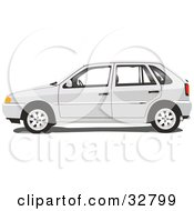 Clipart Illustration Of A White Four Door Volkswagen Pointer Car