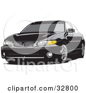Clipart Illustration Of A Black Pontiac Grand Prix Car With Tinted Windows