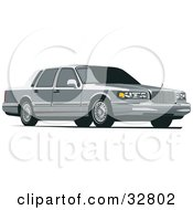 Clipart Illustration Of A Gray Lincoln Town Car With Privacy Glass