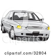 Clipart Illustration Of A Front View Of A White Car