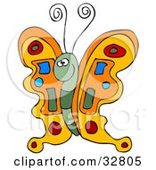 Clipart Illustration Of A Colorful Orange Butterfly With A Green Body And Blue Red And Green Designs On Its Wings by Dennis Cox