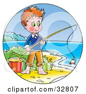 Boy Standing By A Pail And Fishing On The Shore