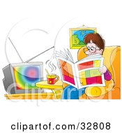 Clipart Illustration Of A Relaxed Father Sitting In A Chair Drinking Tea And Reading A Newspaper In Front Of A TV