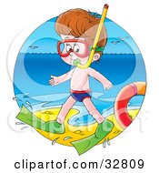 Clipart Illustration Of A Boy In Snorkel Gear Waddling Along The Surf On A Beach by Alex Bannykh