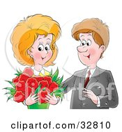 Clipart Illustration Of A Romantic Man Giving His Wife A Bouquet Of Red Flowers On Valentines Day Or Their Anniversary