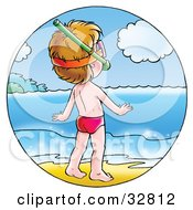 Clipart Illustration Of A Little Boy On The Shore Wearing Snorkel Gear And Watching The Sparkling Water by Alex Bannykh