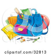 Clipart Illustration Of School Supplies Around A Backpack