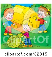 Clipart Illustration Of Three Children Setting Up Their Camp Site
