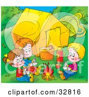 Clipart Illustration Of Three Children Warming Up By A Campfire Near Their Tent