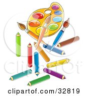 Clipart Illustration Of A Paint Palette Paintbrushes And Colored Pencils