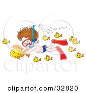 Clipart Illustration Of A Boy Snorkeling And Holding Onto A Fish While Swimming Underwater by Alex Bannykh