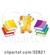 Clipart Illustration Of A Smart Book Character Wearing Glasses And Reading A Memo Stacks Of Colorful Books On The Sides