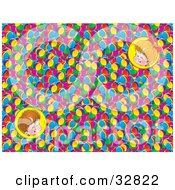 Clipart Illustration Of Portraits Of Two Happy Children Over A Background Of Colorful Balls