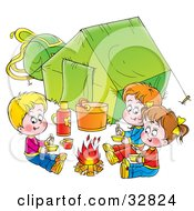 Three Kids Eating Around A Campfire Outside Their Green Tent On A White Background
