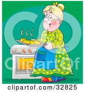 Happy Grandmother Carrying A Tray Of Fresh Hot Bread From The Oven Over A Green Background