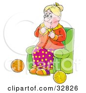 Clipart Illustration Of A Happy Grandmother Sitting In A Green Chair And Knitting