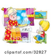 Clipart Illustration Of A Happy Boy Holding His Arms Out To His Grandmother As She Carries Fresh Bread