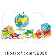 Clipart Illustration Of A Globe Surrounded By School Books And Supplies