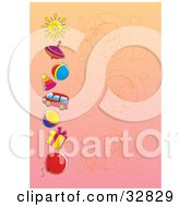 Clipart Illustration Of A Gradient Background With Faded Portraits Of Girls And A Boy And A Border Of Toys And A Sun by Alex Bannykh