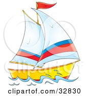 Yellow And Red Boat With White Red And Blue Sails