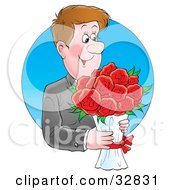 Handsome And Romantic Man Carrying A Bouquet Of Red Flowers