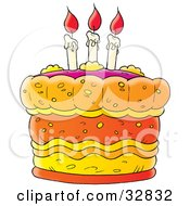 Clipart Illustration Of A Birthday Cake With Three Lit Candles With Red Flames On Top