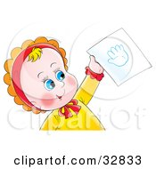 Clipart Illustration Of A Cute Blue Eyed Baby Holding Up A Hand Print On A Piece Of Paper by Alex Bannykh