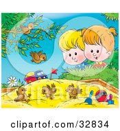Group Of Birds Playing In A Sand Box A Boy And Girl Watching