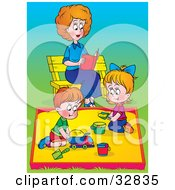 Clipart Illustration Of A Mother Reading A Book On A Bench While Her Children Play In A Sand Box At A Park by Alex Bannykh
