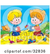 Clipart Illustration Of A Curious Cat Watching A Boy And Girl Making Sand Castles With Buckets In A Sand Box