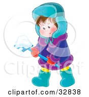 Clipart Illustration Of A Little Boy In Winter Clothing Shoveling Snow