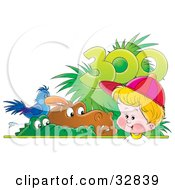 Clipart Illustration Of A Little Blond Boy Watching Alligators Hippos And Birds In A Zoo by Alex Bannykh