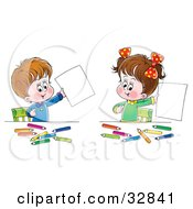 Clipart Illustration Of A Little Boy And His Sister Proudly Holding Up Their Artwork While Coloring At A Table by Alex Bannykh