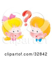 Clipart Illustration Of A Curious Boy And Girl With A Red Question Mark Between Their Heads by Alex Bannykh