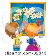 Clipart Illustration Of A Little Boy And Girl Admiring A Painting Of Flowers In A Museum Or Art Gallery